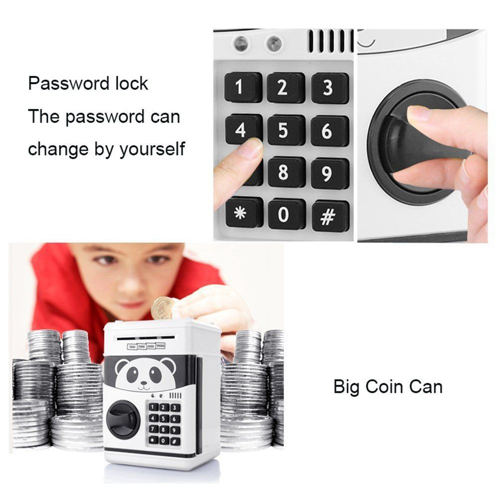 Electronic Piggy Bank ATM Password Money Saving Automatic Deposit Safe Box LY
