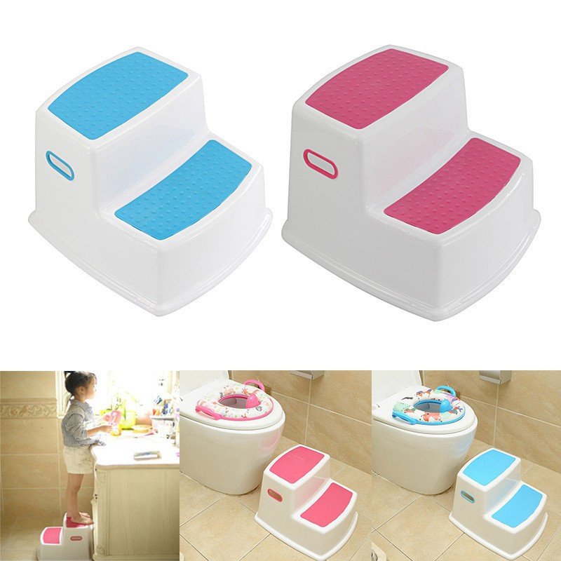 Nursery Stools Bathroom Kids Potty Training Stool Step Toddlers Stepping For Kitchen Sink Safe Dual Height Kids Stool Blue Shopee Singapore