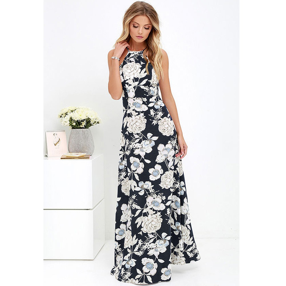 Women Boho Floral Sleeveless Dress Summer Beach Holiday Sundress Ladies Vintage Casual V Neck Flowy Maxi Dresses Plus Size S-5XL