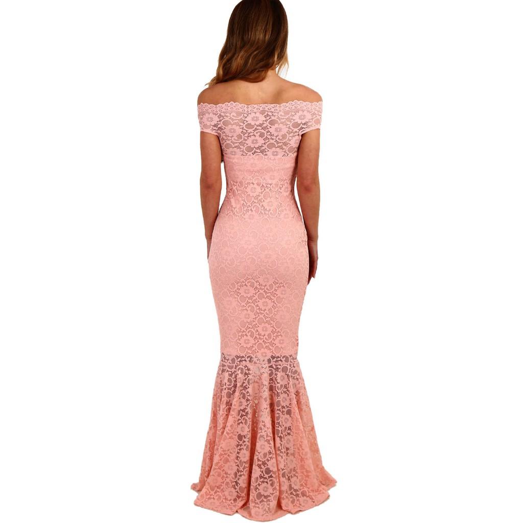 Pink Bardot Lace Fishtail Maxi Dress
