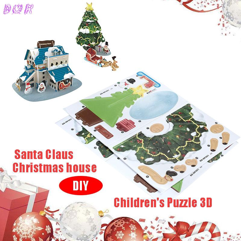Christmas Santa Claus Christmas Tree Children S Puzzle 3d Diy