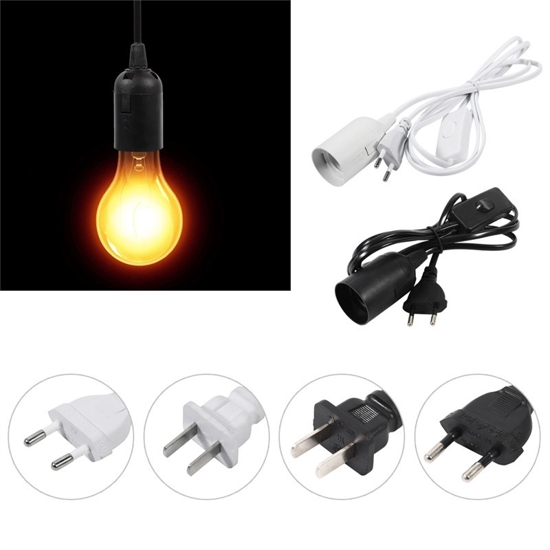 E27 Plug-In Pendant Light Fixture Lamp Bulb Socket Cord with Dimmer Switch UK