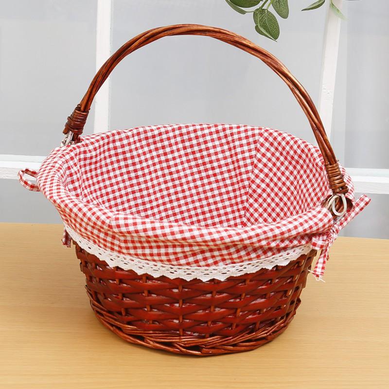 Split Wicker Round Rattan Basket Outdoor Picnic Rattan ...