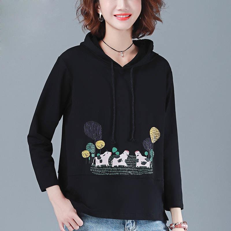 F/_topbu Short Hoodie for Women Round-Neck Long Sleeve Pullover Olive Leaf Printed Sweatshirt Casual Loose Crop Blouse