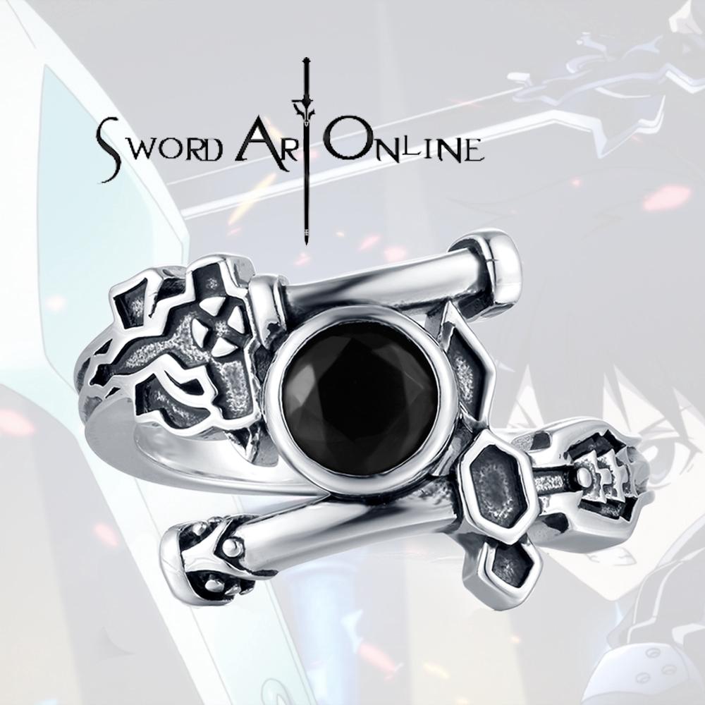 Anime Sword Art Online Alicization Kirigaya Kazuto Kirito Ring 925 Silver Rings
