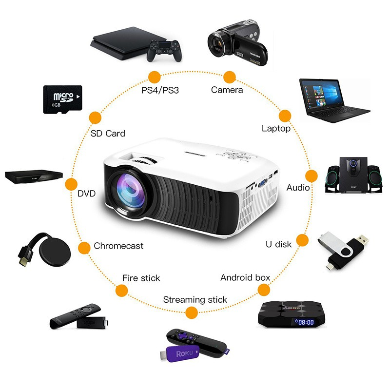 ⭐Best Product⭐T22L HD PROJECTOR For Films.TV.Xiaomi The Cheapest 1080P  Portable Device   Shopee Singapore