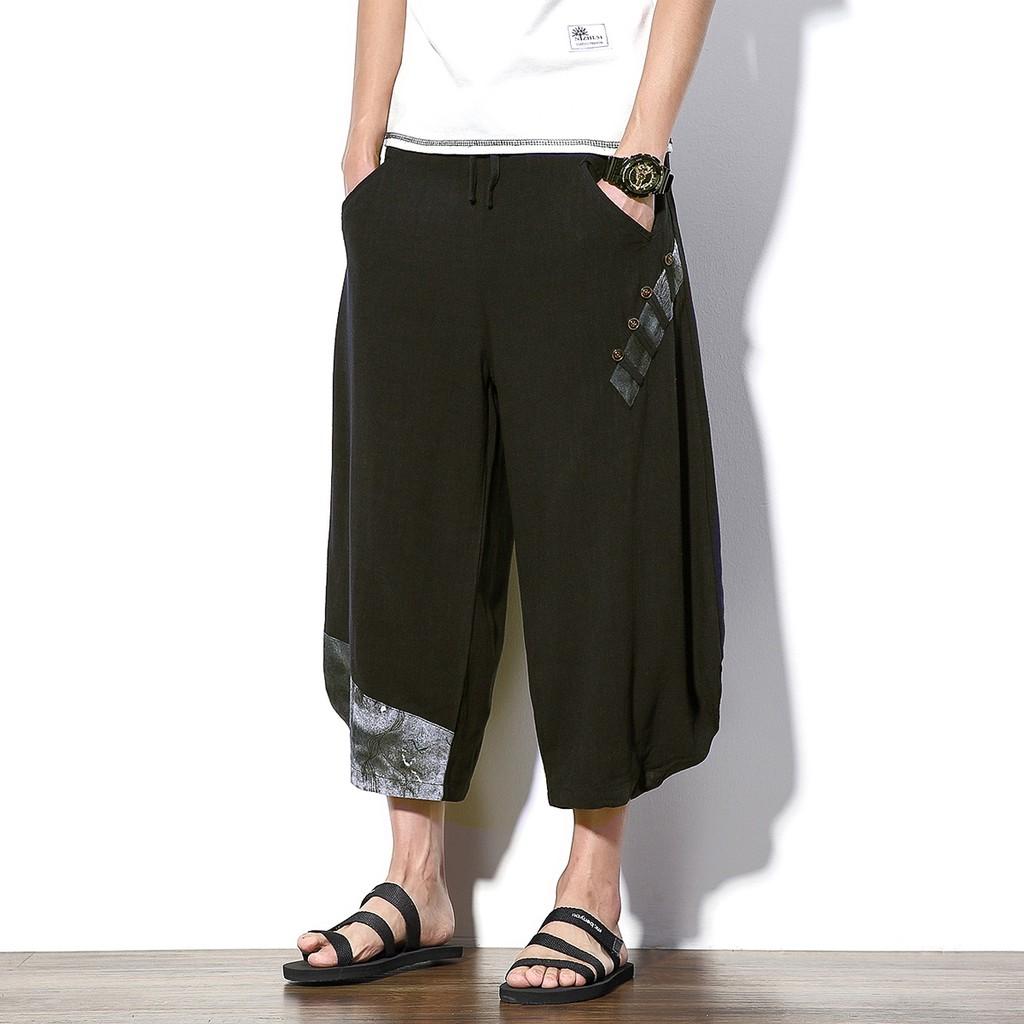 9775f44aa76b men Summer thin loose 9 beach linen wide leg pants casual pants male ...