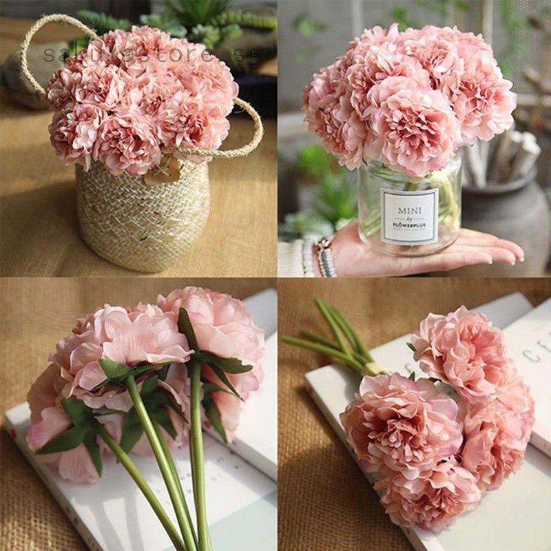 Artificial Silk Fake Flower Peony Floral Wedding Bouquet Hydrangea Home Decor Shopee Singapore