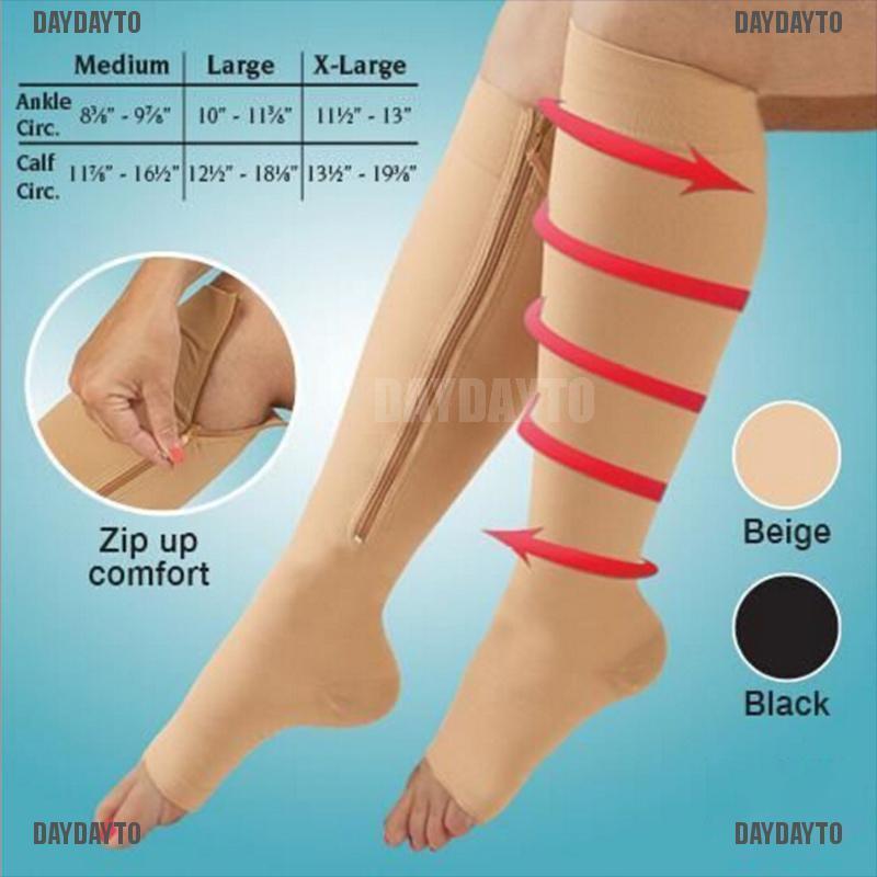 DAYDAYTO 1Pair Zipper Compression Socks Foot Pain Relief Knee Varicose Open  Toe Socks [COD] | Shopee Singapore