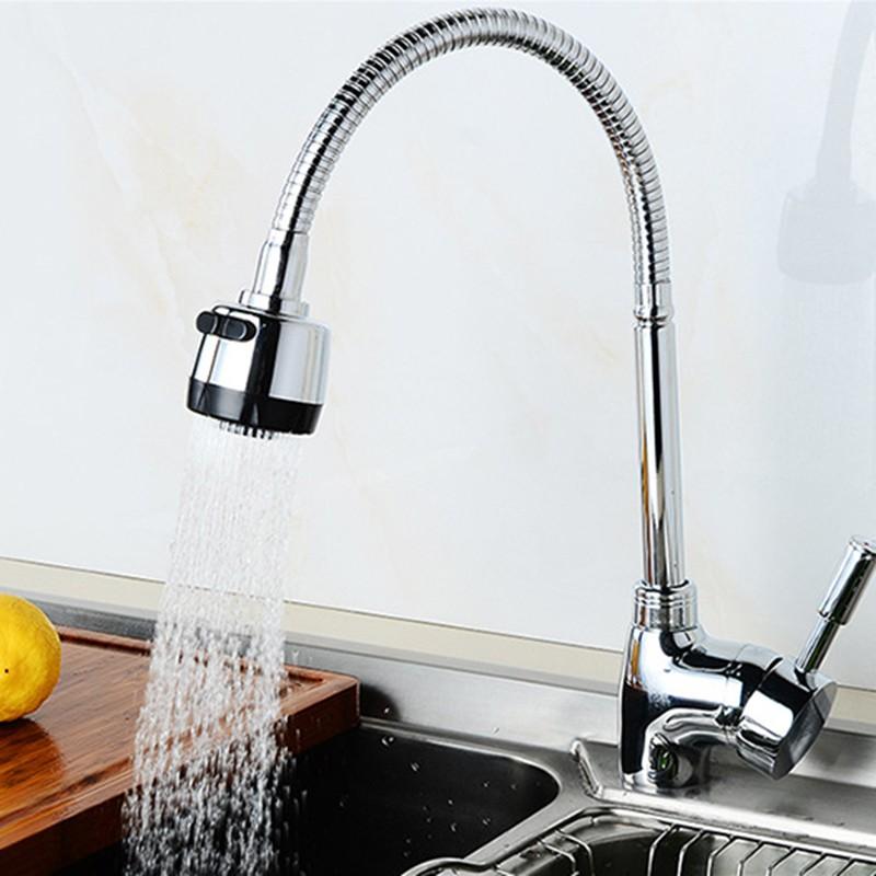 360° Rotating Kitchen Sink Basin Swivel Mixer Tap Spout Hot /& Cold Chrome Faucet