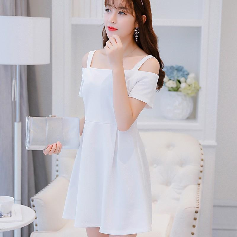 c917b4b7e995 Korean Strap Bare Shoulder Dress Women Off Shoulder Mini Slim Dress ...
