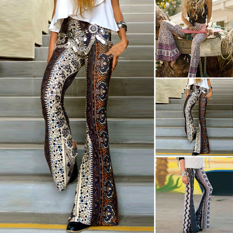 d096cb0dec62 New Women Fashion Hippie High Waist Wide Leg Long Flared Bell Bottom Pants  | Shopee Singapore