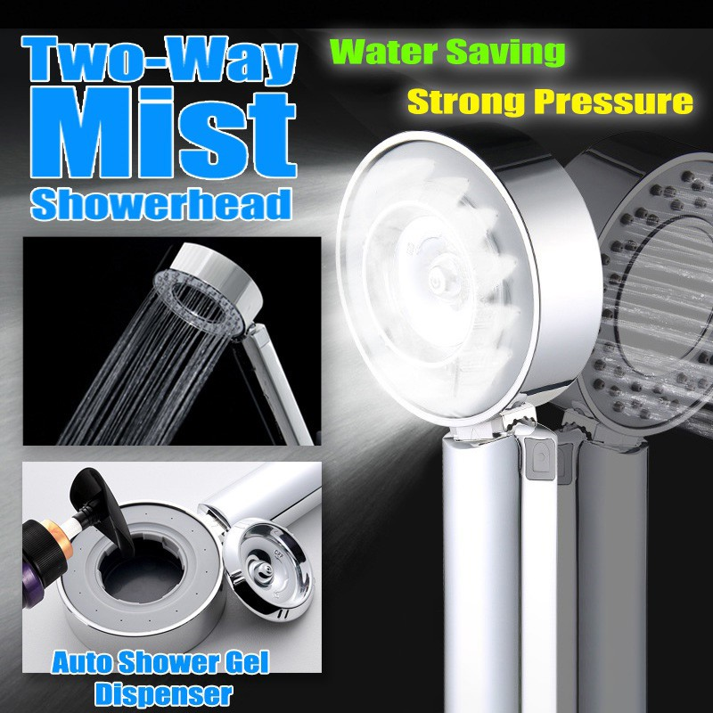 Double-Sided Shower Head Energy 50/% Water Saving Mist Spray Bath 3 Modes SPA