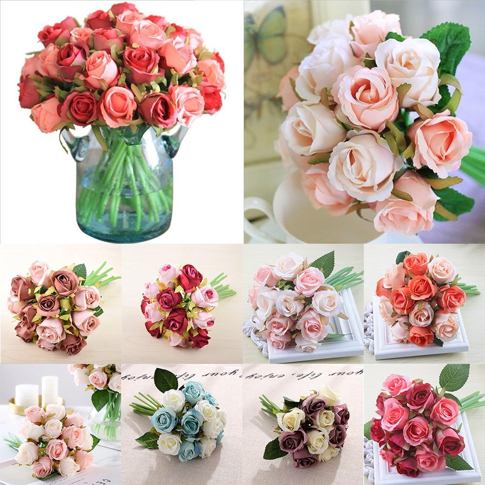 Artificial Flower Shop Silk Garden Rose Artificial Flowers Bouquet Wedding Home Decoration Simulation Beautiful Shopee Singapore