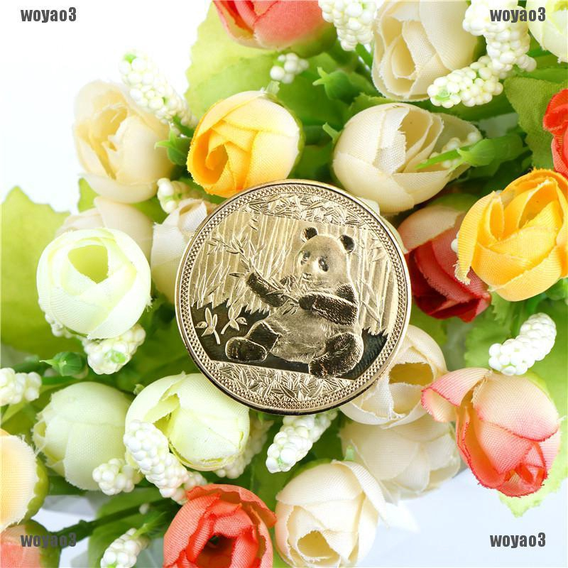 gold-plated cute panda baobao commemorative coins collection art gift OF