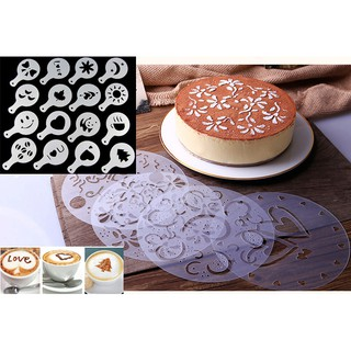 4 16pcs Cake Decorating Stencils Dusting Icing Sugar Baking Template Coffee