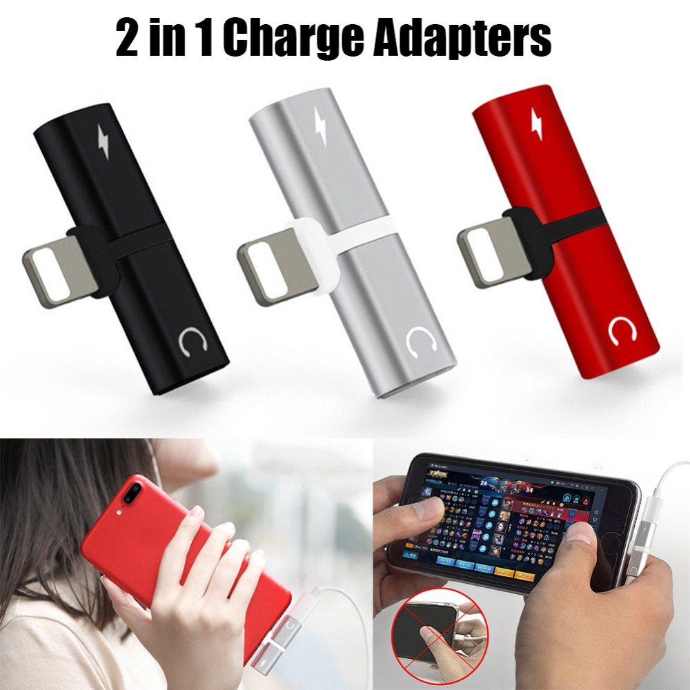 For iPhone 7 8 Plus X Audio Charging Adapter 2 In 1 Dual Headphone Adapters