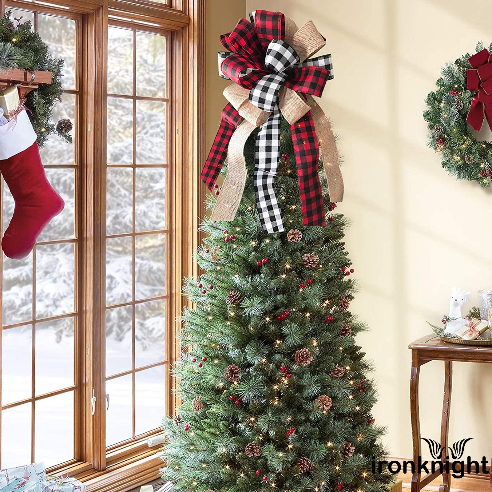 Ltl Christmas Tree Topper Rustic Buffalo Plaid Decorative Bow For Holiday Home Party Decor Shopee Singapore