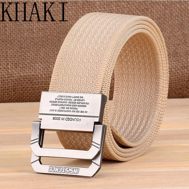New Mens Womens Canvas Belt with Double D Ring Metal Buckle Fashion Waistband