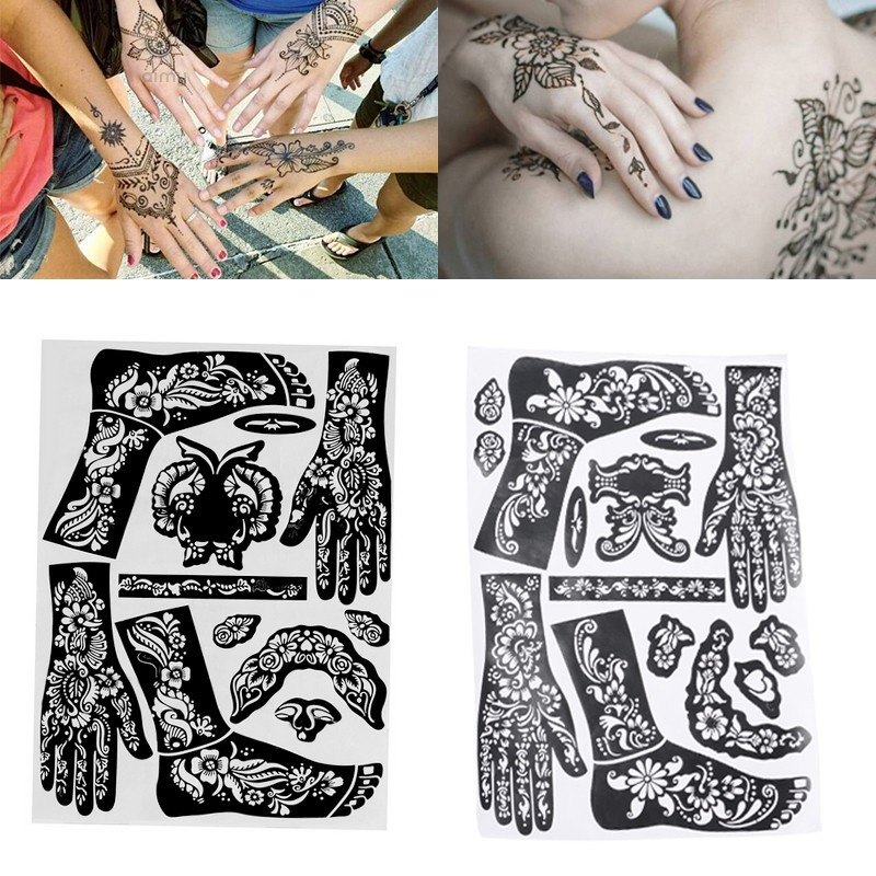 Aimy 1 Sheet India Henna Template Hand Body Art Temporary Tattoo Stencil Diy Tool Shopee Singapore