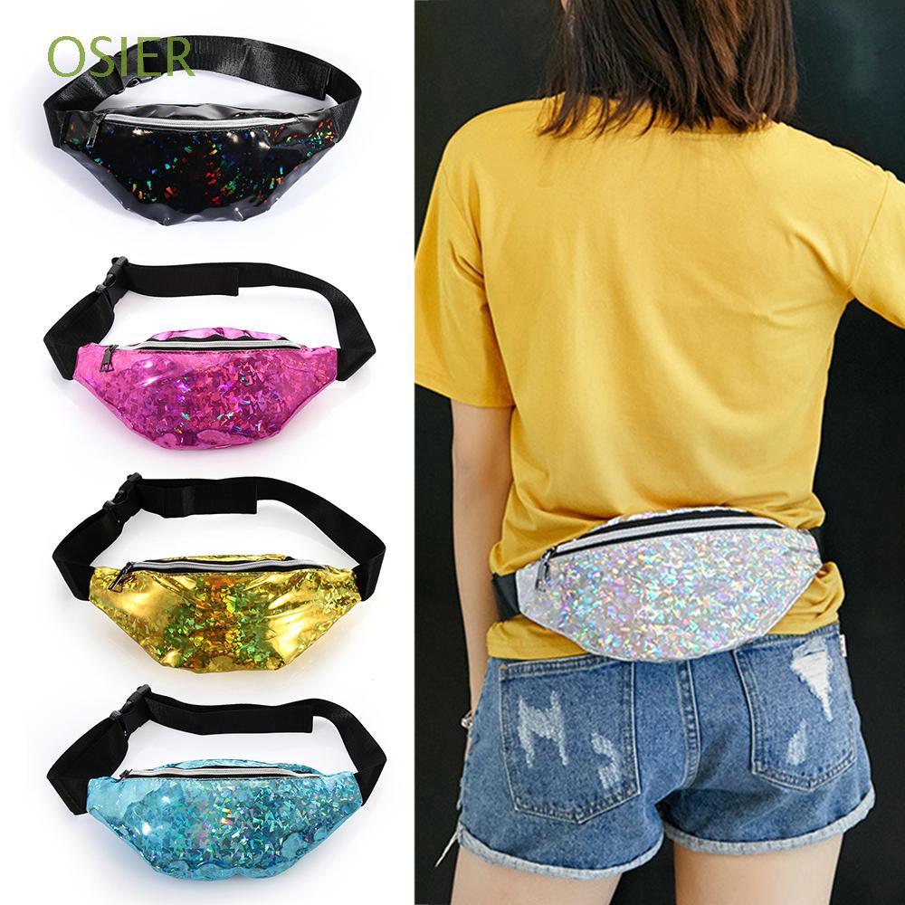 Portable Girls Women Sequins Shoulder Chest Fanny Pack Waist Bag Adjustable Belt