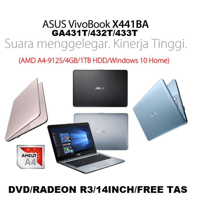 Asus X441ba Amd Laptop A4 9125 4gb 1tb Dvd Amd R3 14inch W10 Bag Shopee Singapore
