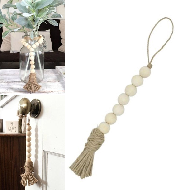 Tassle Farmhouse Beads Natural Wood Bead Garland Kids Room Decor
