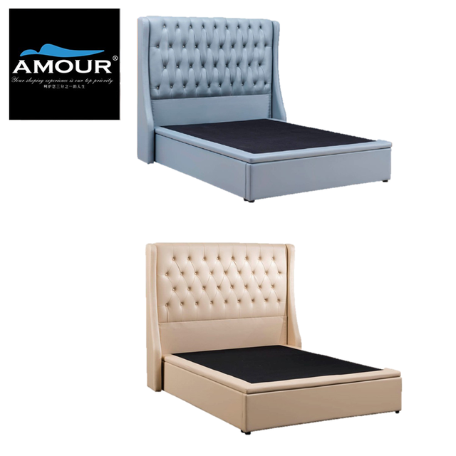 Image result for AMOUR Premium PU leather Storage Bed singapore