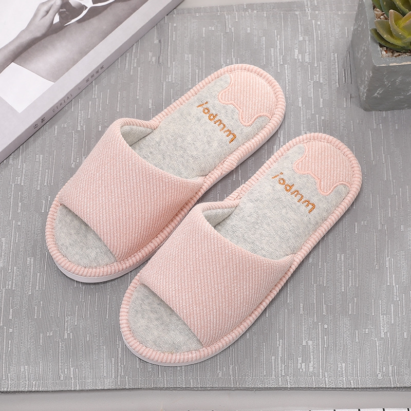 Loafer Slippers Shoes Open Toe Couples Autumn Linen /&Cotton Cloth Stripe Indoor