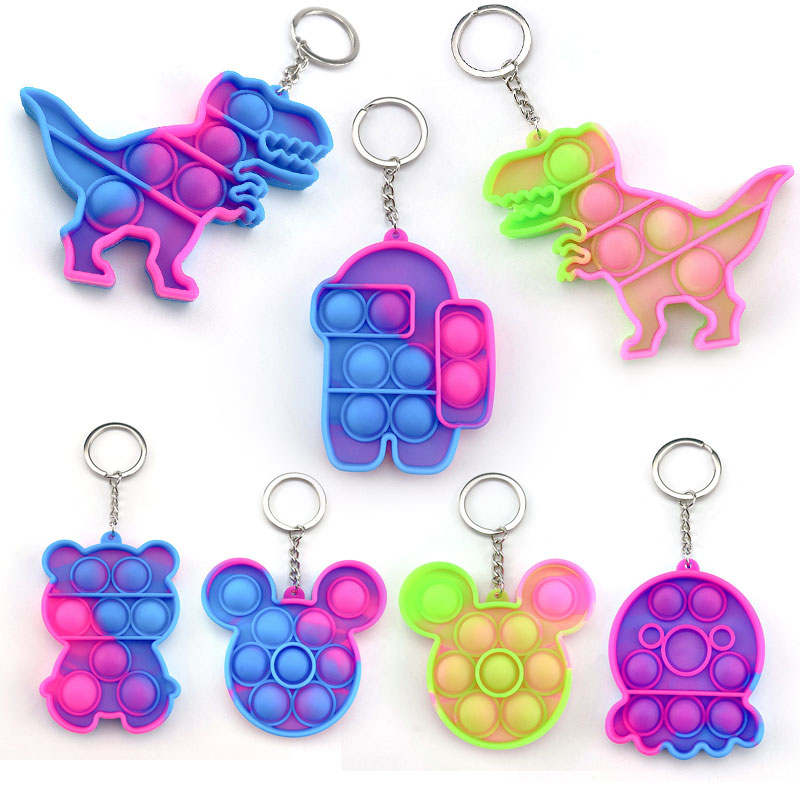 TikTok Nice Stress Relief Fidget Toy Keychain Simple Dimple Pop It Among Us Keyring Pendant Push Bubbles Special Needs for Adult Kids