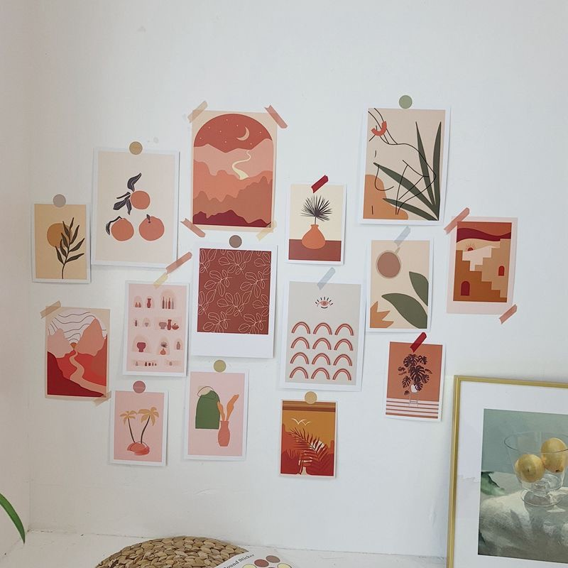 15 Sheets Set Wall Illustration Decoration Card Bedroom Decoration Wall Decor Cards With Sticker Shopee Singapore