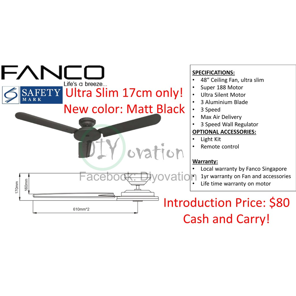 [Wholesale price! ] Fanco FFM 3000 Low ceiling HDB/ BTO Ceiling Fan on