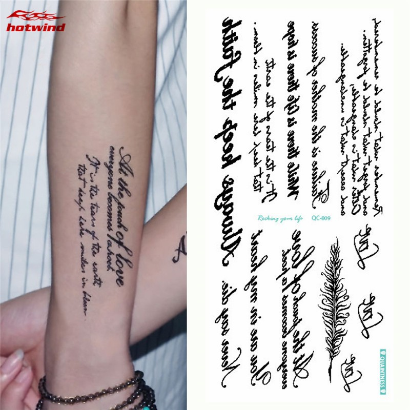 Hw 1 Sheet English Words Tattoo Sticker Letters Pattern Removable Temporary Tattoo Body Art Sticker Shopee Singapore