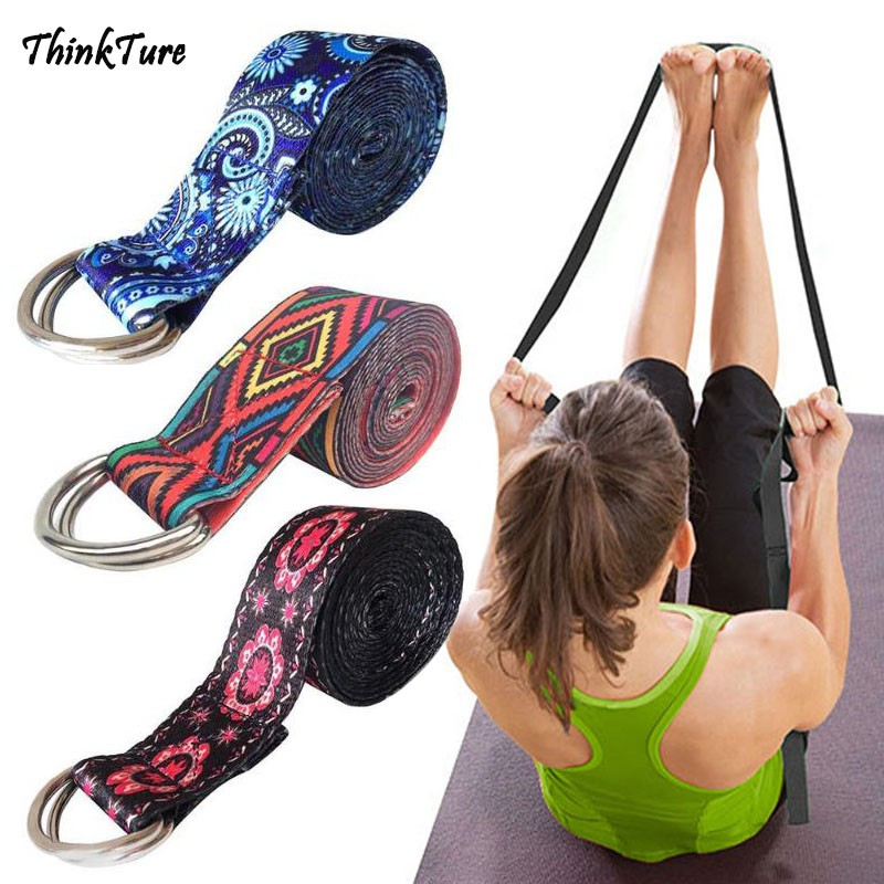 Yoga Stretch Strap Women Multi Colors D Ring Belt Fitness Exercise Gym Rope New