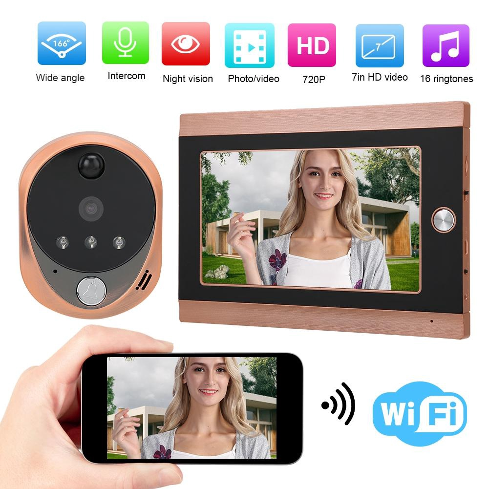 7 Inch 720P HD LCD WIFI Wireless Digital Peephole Door Viewer Camera with 160/° Viewing Angle uk Night Vision Motion Detection Two-way Audio Doorbell System for Home Security. Garsent Door Viewer