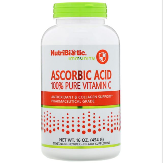 Big Bottle 454g NutriBiotic Immunity Ascorbic Acid 100% Pure Vitamin C
