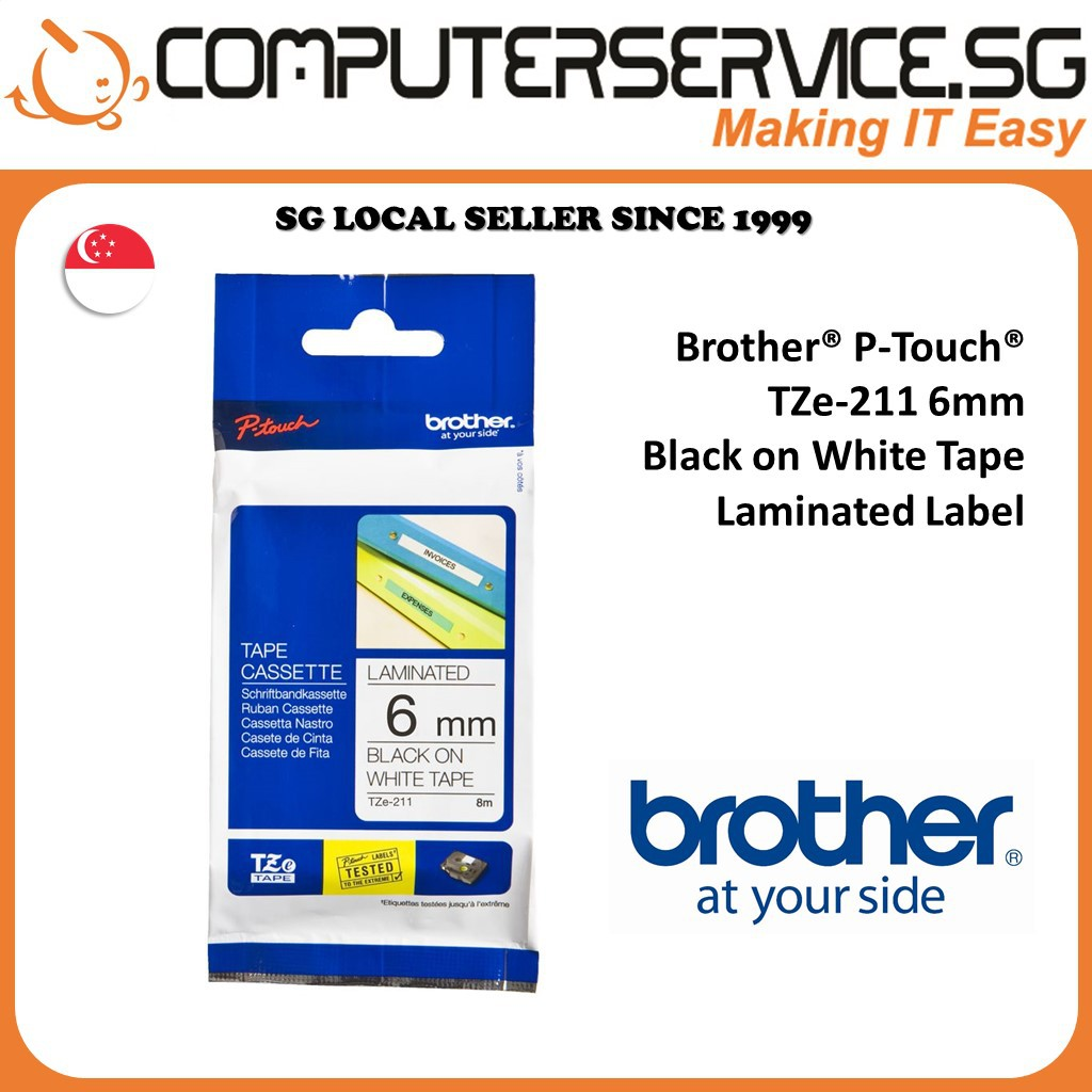 Brother P Touch Tze 200 Series Genuine Label Tapes Shopee Singapore Tape S241 18mm Black On White