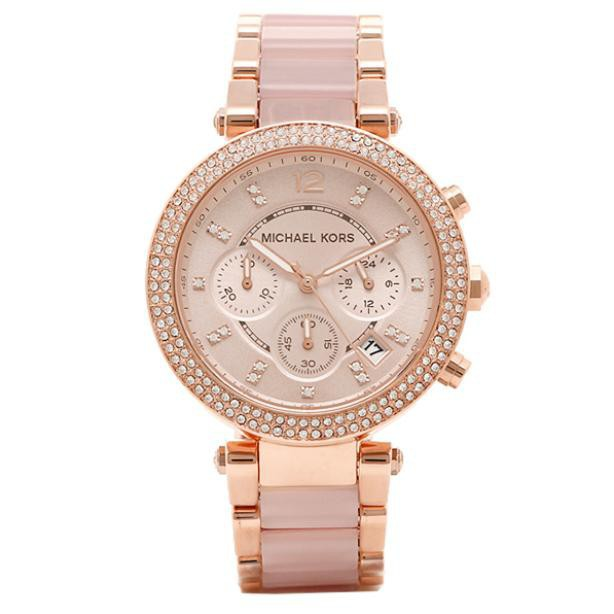 5ec352abc1a7 Original MK MICHAEL KORS MK5896 Parker Blush Dial Ladies Chronograph Watch