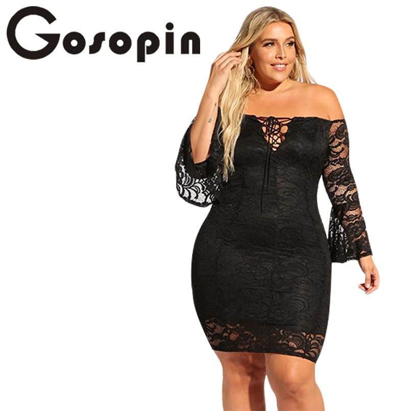 54d4bd878bb0 Gosopin Plus Size Lace Bodycon Dress Off Shoulder Sexy Party Summer Club  Dress