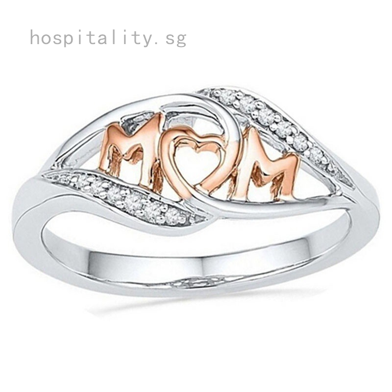 Fashion Love Mom Two Tone Heart Ring 925 Silver Mother/'s Day Jewelry Gift Sz6-10