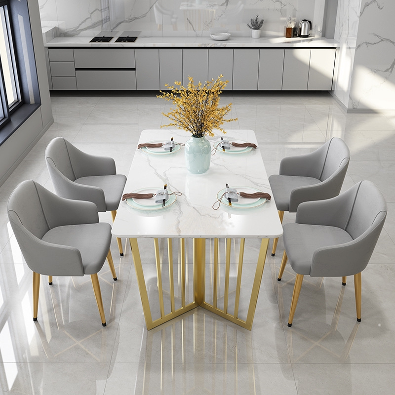 Marble Dining Table Simple Modern Rectangular Dining Table Home Dining Table And Chair Combination Shopee Singapore