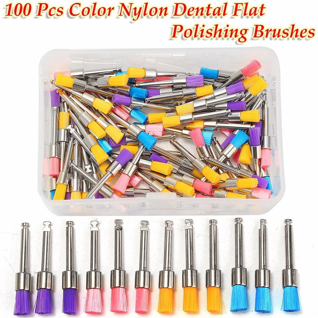 100pcs Polishing Brush Mixed Color Polisher Disposable Nylon Flat Polishing Polisher Brushes Tooth Polishing Brush Cleaning Brush Kit