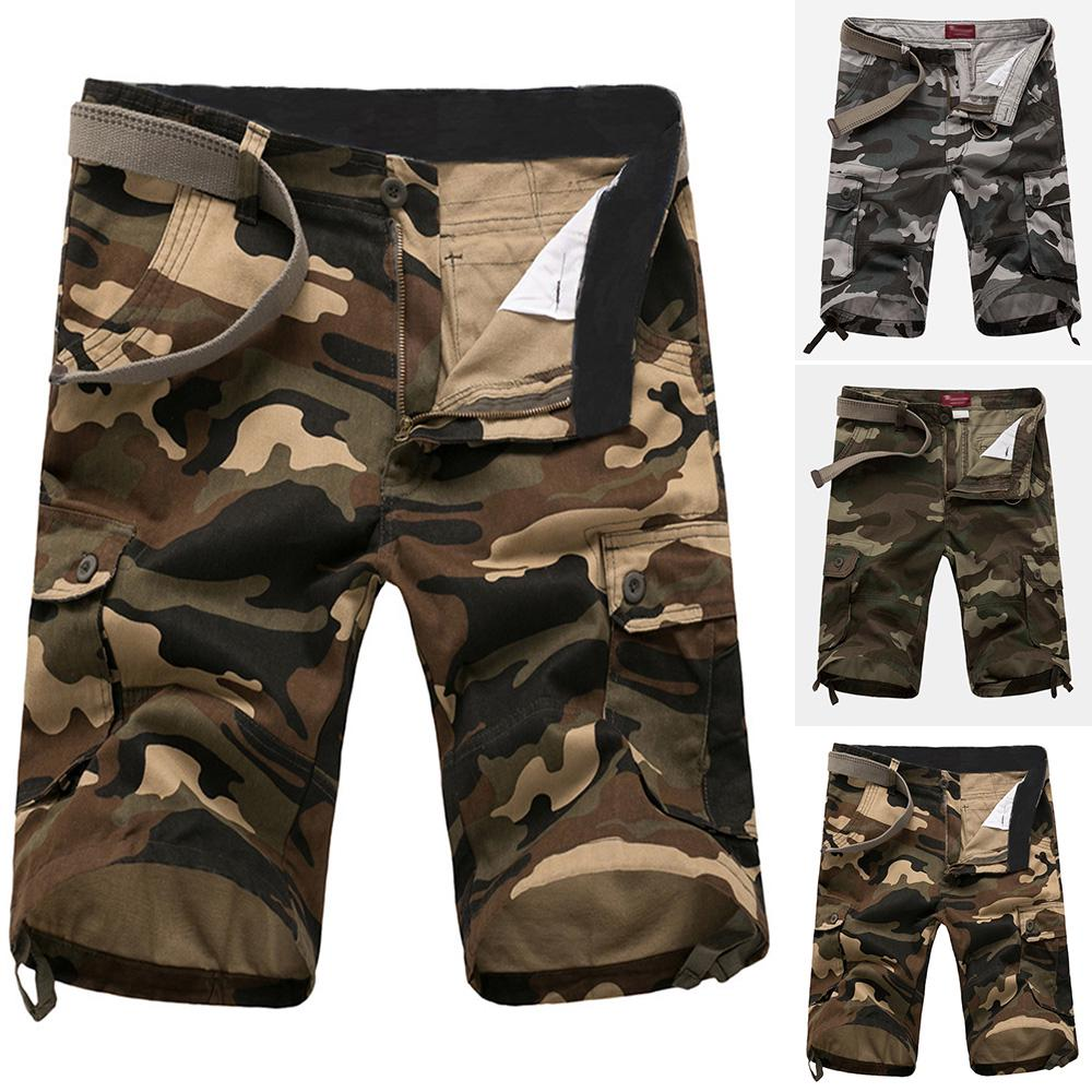 Men Summer Shorts Army Camouflage Combat Camo Cargo Pockets Short Pants Trousers
