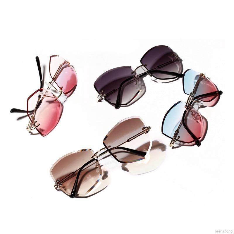 New Diamond Shape Women/'s Fashion Rimless Sunglasses Metal Frame Colored Lenses.