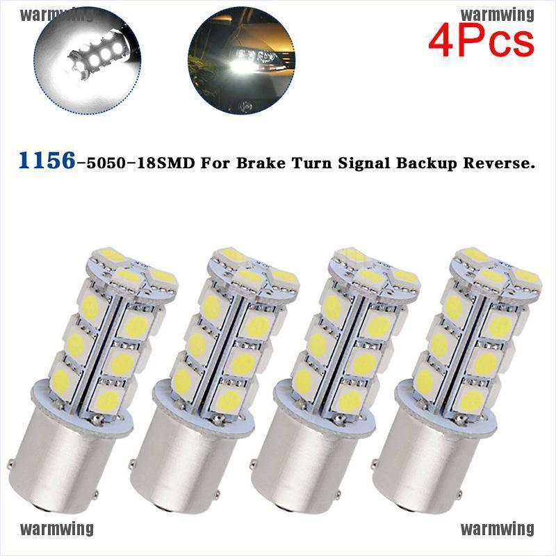 2 Pcs White 1156 4 COB LED Light Bulb Tail Turn Backup Trailer 5008 7506 7527