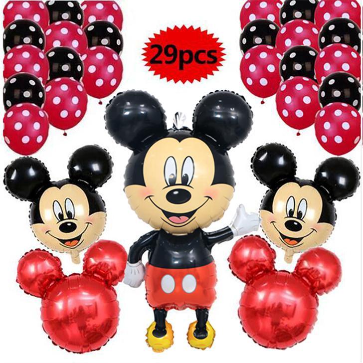 "12/"" Red  Black Plain /& Polka Dot Balloons Mickey Mouse Birthday party decoration"