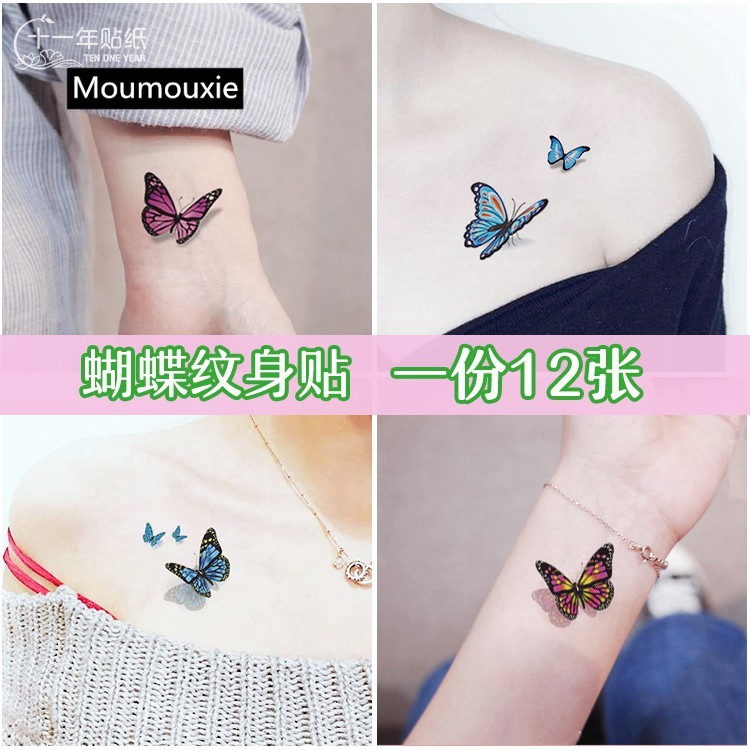 Ankle 3d Butterfly Tattoo Stickers Waterproof Female Sexy Chest Body Art Decal Shopee Singapore