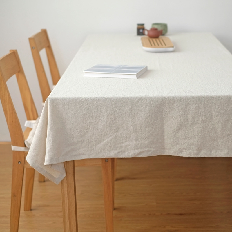 Simple Plain Washed Cotton Square Table Cloth Coffee Table Cloth
