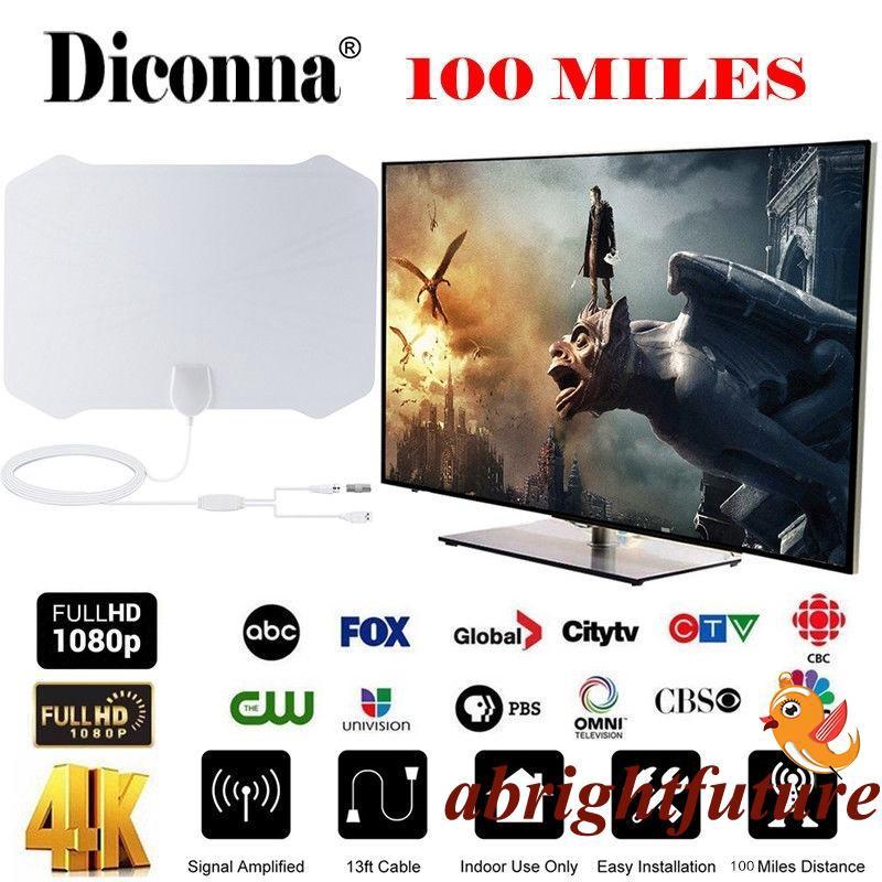 1byone Antenna HD Digital TV 50-Mile Range Indoor Amplified Skywire TV 1080P 4K