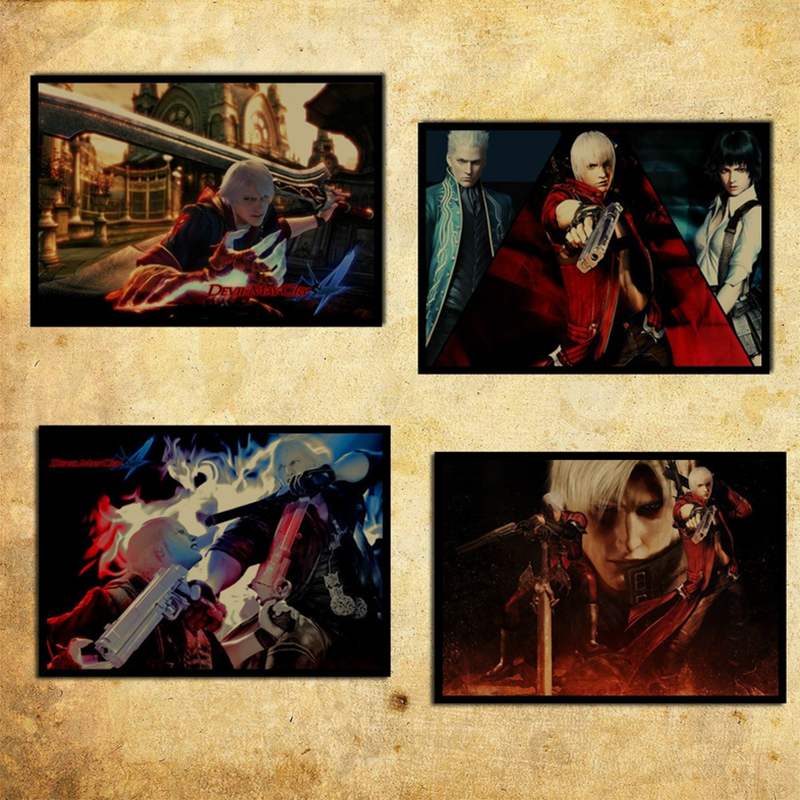 1 Pcs Retro Style Devil May Cry 5 Dante Nero Vergil Game Vintage Craft Paper Poster Decorative Wall Sticker Shopee Singapore